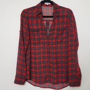 Express Portofino Shirt Button Front Red Plaid, S